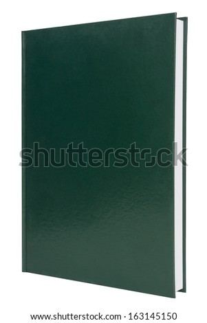 blank green hardback book cover isolated on white - stock photo