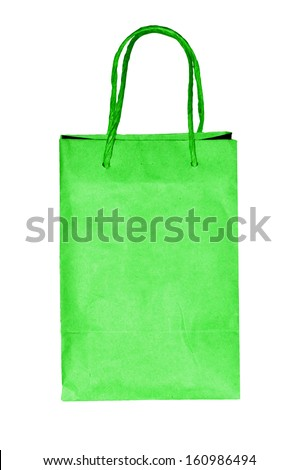 Blank green paper bag