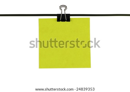 Blank green paper reminder on wire