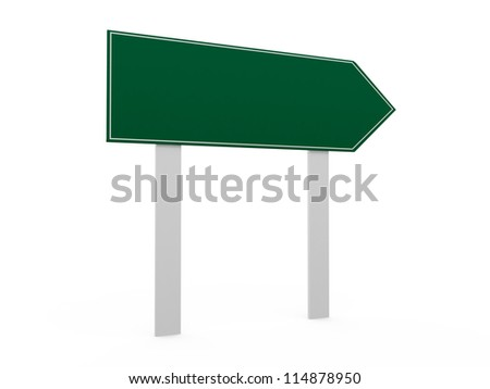 Blank, green right arrow road sign template, isolated on white background.