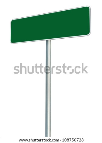 Blank Green Road Sign Isolated, Large White Frame Framed Roadside Signboard Perspective Empty Copy Space - stock photo