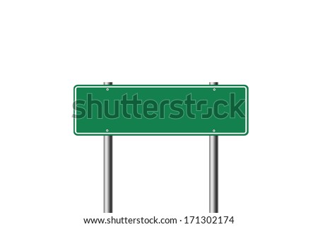 Blank green road sign isolated on white background.