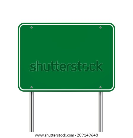 blank green road sign over white background