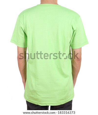 blank green t-shirt on man (back side) isolated on white background