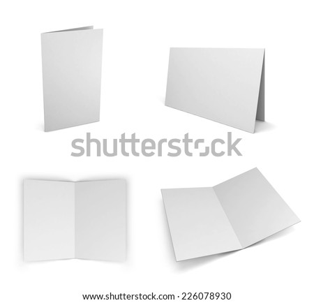 Blank greeting card. 3d illustration isolated on white background - stock photo