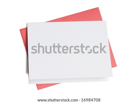 Blank greeting card on top of colored envelope isolated on white background