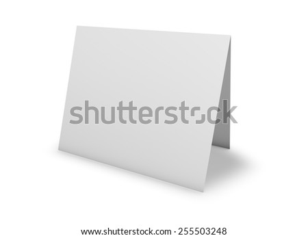 Blank greeting card standing on floor, isolated on white, template illustration. - stock photo
