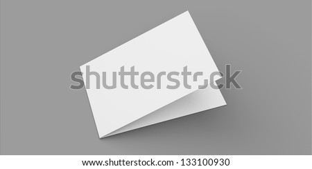 Blank greeting card with soft shadows isolated on grey - stock photo