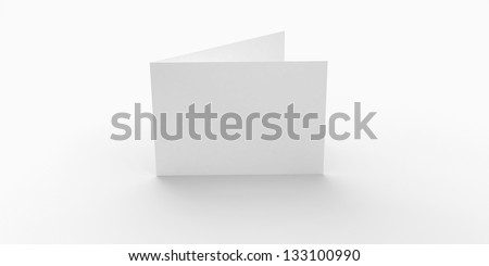 Blank greeting card with soft shadows isolated on white - stock photo