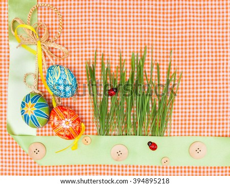 Blank, greeting easter card with green grass and handmade easter eggs.Simple your text. Empty card - stock photo