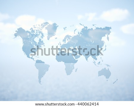 Blank Grey Political World Map. 3D rendering. Empty white clouds background. High textured row materials. Mockup ready for business information. Horizontal - stock photo