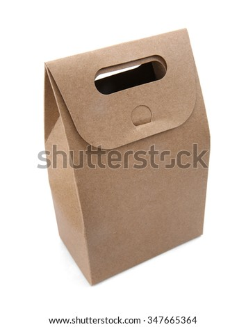 blank hand cake, bread packaging paper bag. - stock photo