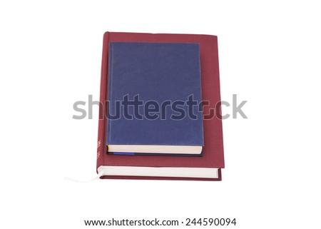 Blank hardcover books isolated on white background  - stock photo