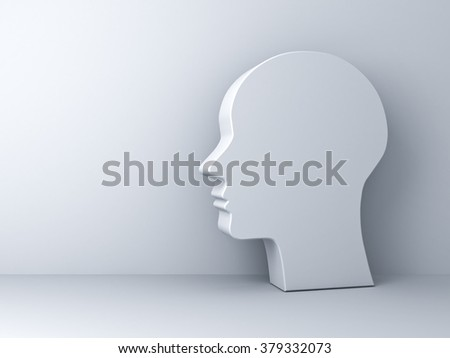 Blank head shape over white background