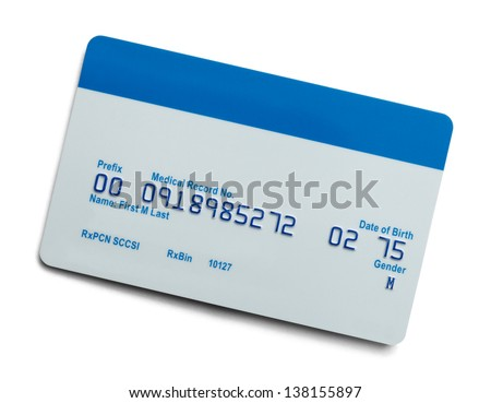 Blank Health Care Medical Insurance Card Isolated On White Background.