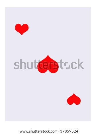Blank Hearts suit playing card, isolated on white background.
