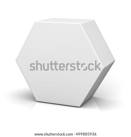 Blank Hexagon Box Isolated On White Stockillustration 499885936 ...