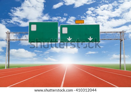 Blank highway and road sign with Running track  green grass and  sky background - stock photo