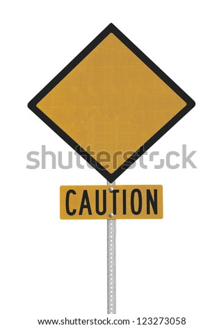 Blank highway caution sign isolated with clipping path.