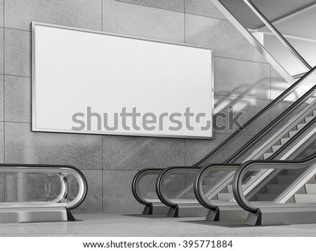 Blank horizontal big poster in public place. Billboard mockup near to escalator in an mall, shopping center, airport terminal, office building or subway station. 3D rendering. - stock photo