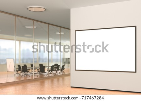 Blank horizontal poster on the wall in modern office. 3d illustration