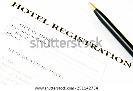 Blank hotel registration form.