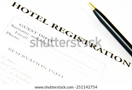 Blank hotel registration form. - stock photo