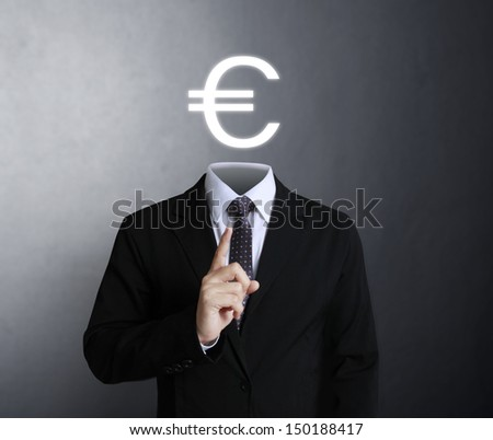 Blank human head symbol with words Euro