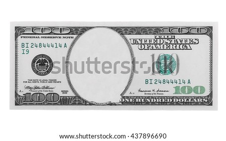 blank hundred dollars bank note isolated on white background, with clipping path - stock photo