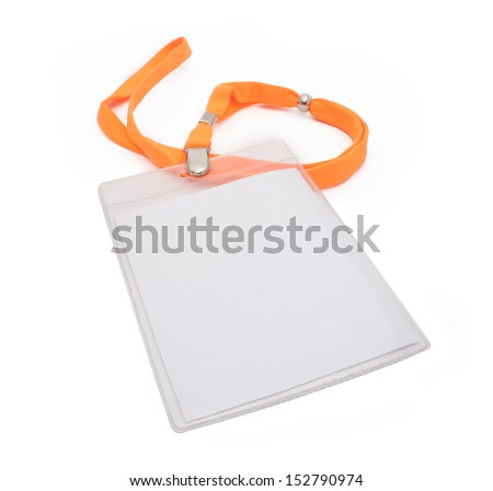 Blank ID card / badge with orange belt isolated over white background. - stock photo