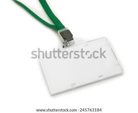 Blank ID or security card with green neck strap, isolated on white. For adding your text of your choice.  - stock photo