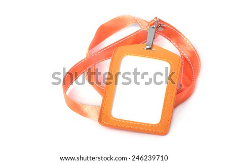 Blank ID or security card with orange neck strap - stock photo