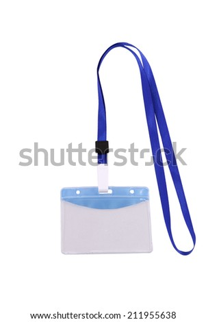 Blank identification card with blue neckband isolated on white. - stock photo