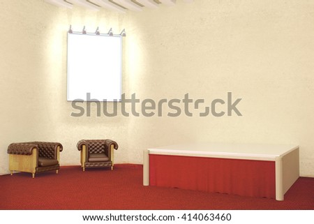 Blank illuminated picture frame in room with red carpet flooring, concrete wall and two leather armchairs. Mock up, 3D Rendering - stock photo