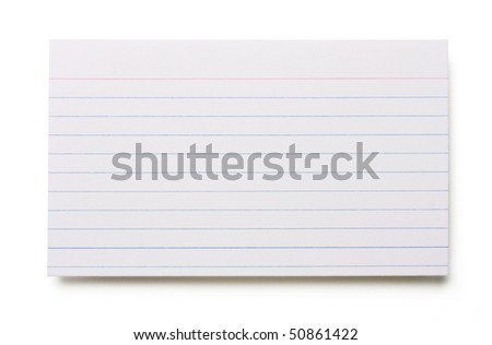 Blank index card isolated on white background. - stock photo