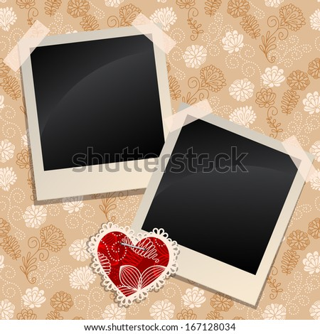 Blank instant photo frames on a wall. Raster version - stock photo