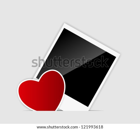 Blank  Instant photo with heart. Raster version. - stock photo