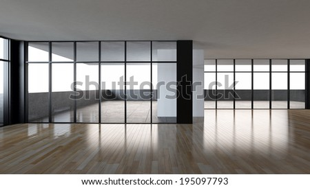 blank Interior balcony glass window light parquet