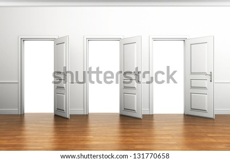 blank interior with three open doors - stock photo