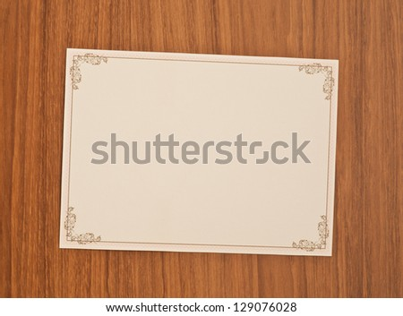 blank invitation card with vintage frame - stock photo