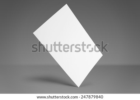 Blank invitation greetings card isolated on grey to replace your design - stock photo