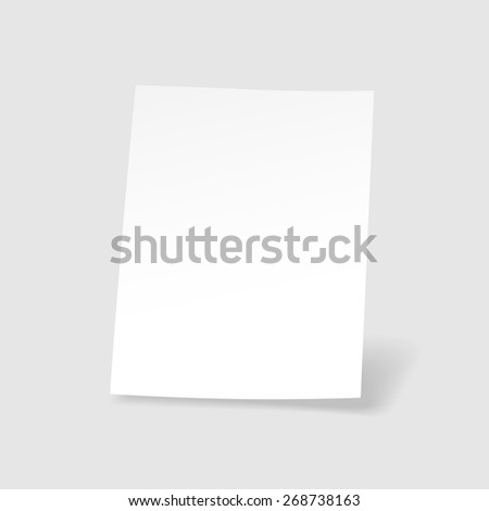 Blank  isolated paper sheet Realistic  illustration