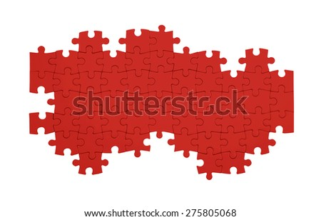 Blank jigsaw puzzle - Business metaphor insert your own image - stock photo