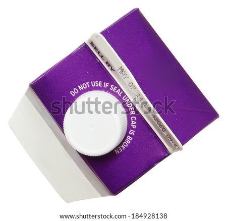 Blank Label Carton of Heavy Whipping Cream Over White - stock photo