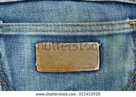 blank label of jeans
