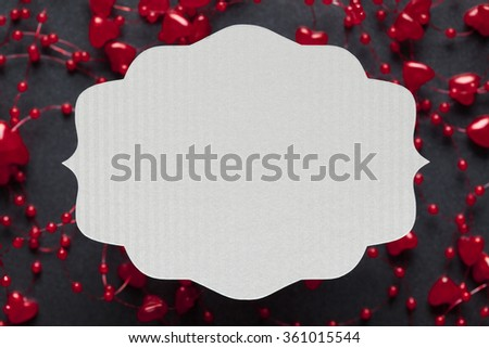 Blank label on black and red background