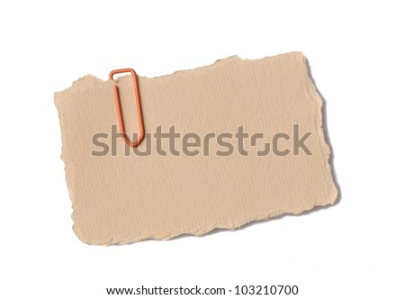 Blank label or tag with staple on white background - stock photo