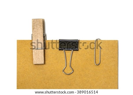 Blank label with clip on white background with clipping path - stock photo