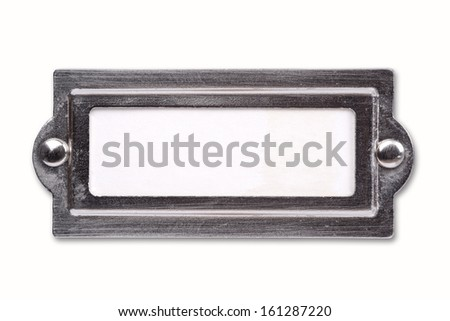 Blank label with metal boarder - stock photo