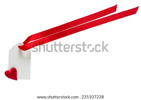 Blank label with  satin ribbon and heart isolated on white background - stock photo